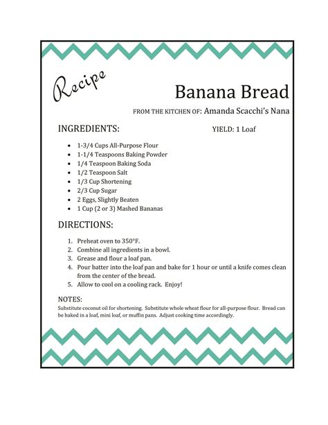 template for recipes in word banana bread nana s recipe makeover the scacchi house