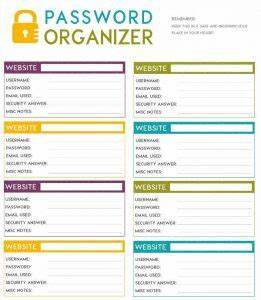 Moving Organizer Template Password Organizer Template Charlotte Clergy Coalition