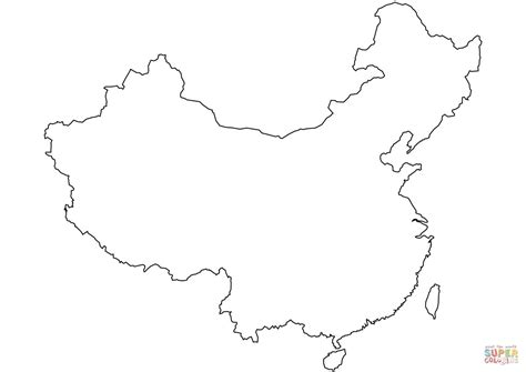 China Blank Outline Map Coloring Page Free Printable