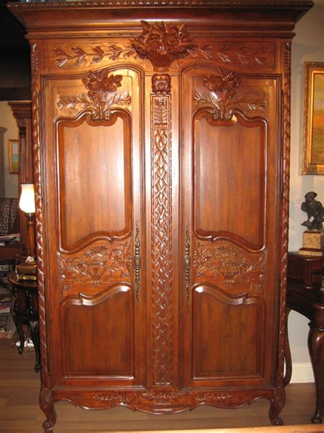 solid mahogany armoire hand carved