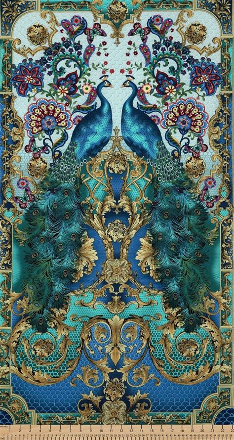 fabric panels for quilting timeless treasures hyde park peacock panel 23x44 quot cotton