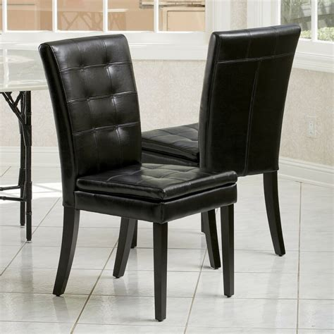 set   dining room black tufted leather dining chairs ebay