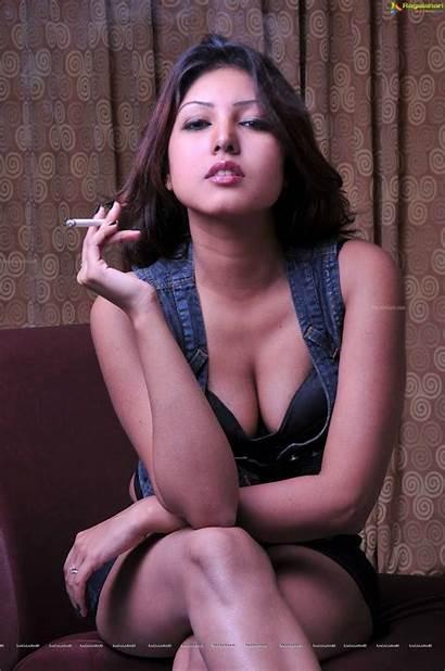 Jha Komal Cleavage Deep Photoshoot Latest Smoking