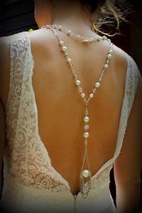 back drop bridal necklace pearl necklace back necklace With pearl necklace with wedding dress