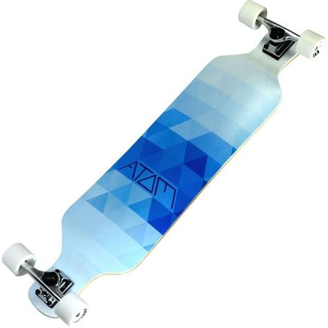 Atom Drop Deck Longboard 39 Inch by Atom Blue Triangles 9 Ply Maple Laminate 39 Inch Drop
