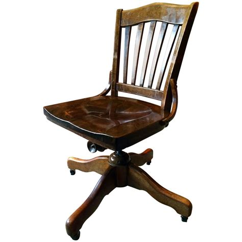 antique vintage oak office swivel chair desk chair at 1stdibs