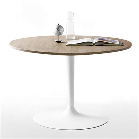 table de cuisine ronde en verre pied central table ronde design plateau bois pied blanc cdc design