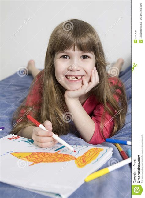 Cute Smiling Girl Seven Years Old Stock Photo Image