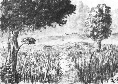 charcoal landscape rysunek pinterest  charcoal