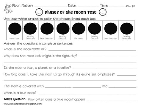 14 best images of moon phases worksheets elementary moon