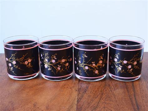 Rare Vintage Cutler Barware 24k Gold And Black Cherry