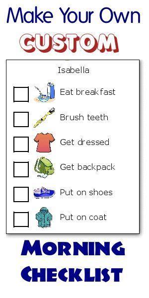 time   organized   kids routine chart kids