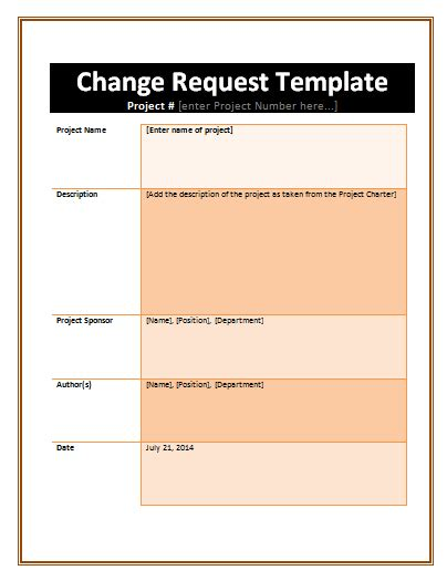 change request formats  word templates