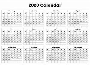 Free Printable Calendar 2020 Templates Microsoft Excel Yearly Calendar 2020 Printable Templates
