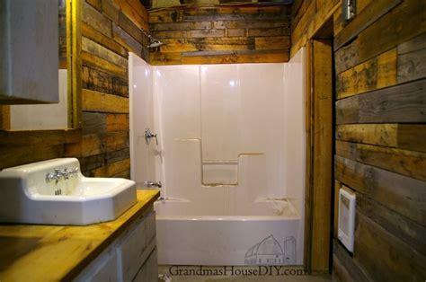 covering walls  pallet wood  basement bathroom
