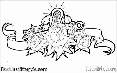 Lock Key Heart Outline Tattoo Sketch Drawing