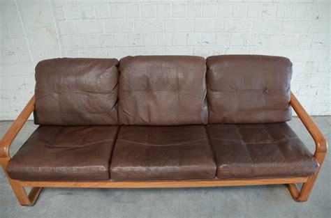 brown leather settee sale vintage brown leather teak sofa from m 246 belfabrik