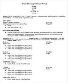 Resume Sle Templates Chronological Resume Template 28 Free Word Pdf Documents Free Premium Templates