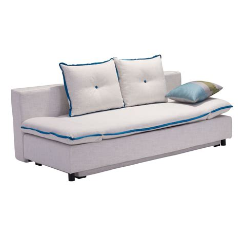 Au Sofa Sleeper by Zuo Modern Serenity Sleeper Sofa With Blue Piping