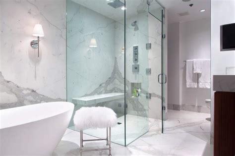 Statuario White Bathroom Using Porcelain Slabs