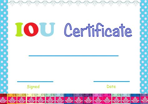 iou template select and print iou certificates and cards fresh designs