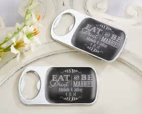 personalized wedding favors personalized silver bottle opener with epoxy dome eat drink be married my wedding favors