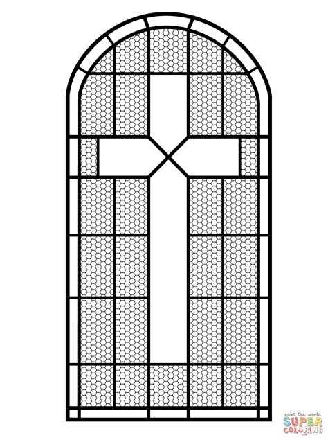 Cross Stained Glass Window Coloring Page Free Printable