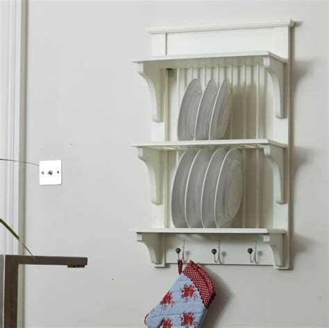 wooden painted plate rack wall unit   orchard notonthehighstreetcom