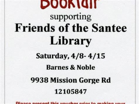 barnes and noble santee barnes noble bookfair with friends of santee library