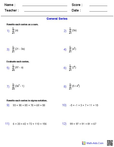 number sequences worksheet year