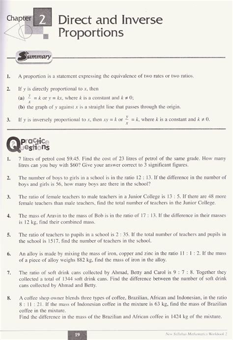 grade math worksheets and problems inverse proportions