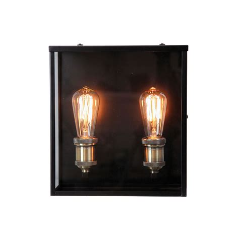 oakland 2 light exterior industrial wall light matt black