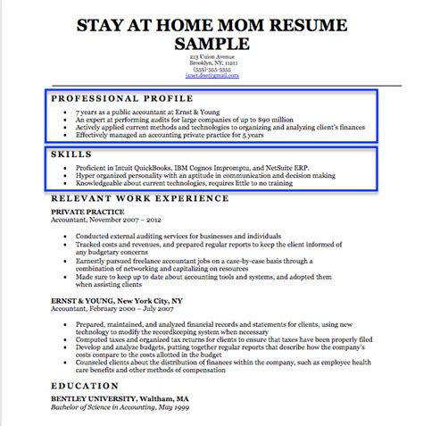 stay  home mom resume sample writing tips resume