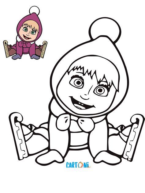 disegno masha da colorare cartoni animati