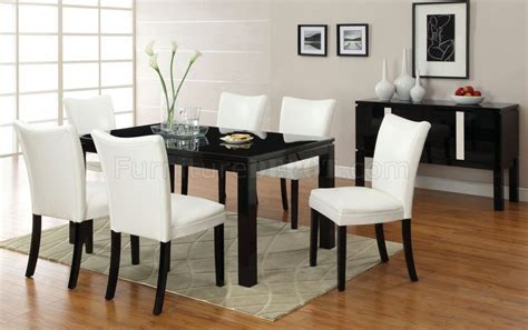 cm3176bk t lamia i black dining table w optional white chairs
