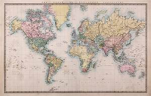1860 Vintage World Map Wallpaper Wall Mural by LoveAbode.com