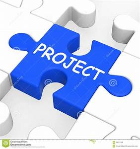 Project Puzzle Shows Plan Mission Or Task Stock ...