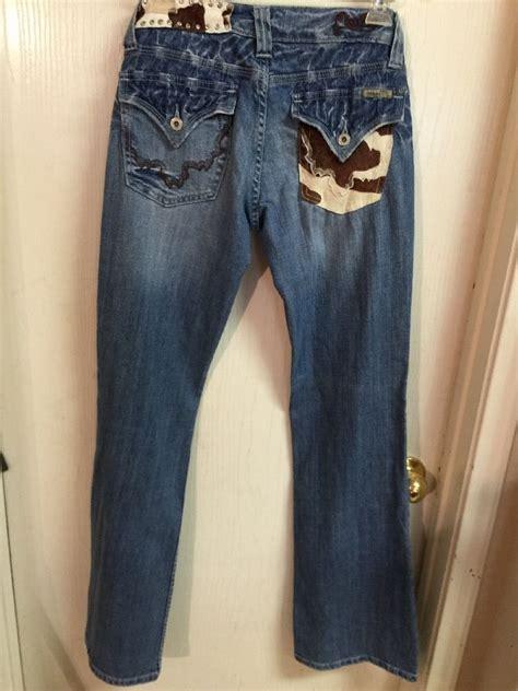 Miss Me Cowhide - miss me cowhide pocket waist bling boot cut sz 28