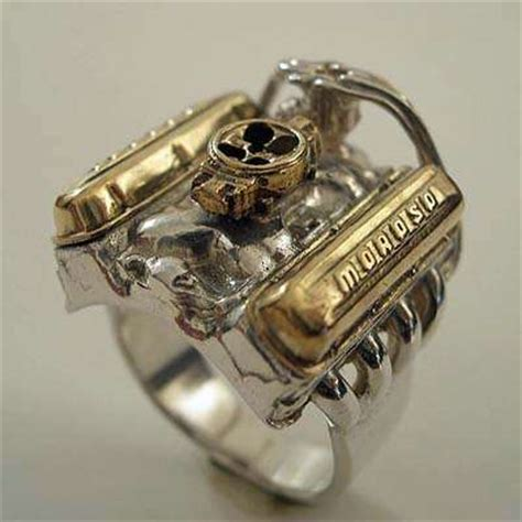 wedding ring made from car parts jewelry for gearheads the v8 rod engine ring