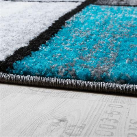 tapis design moderne poils ras carreaux sp 233 cial chin 233 gris noir turquoise tous les produits