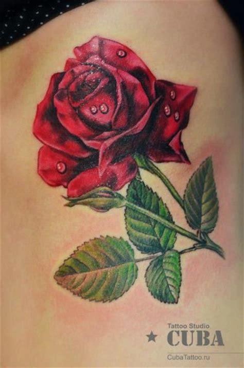 realistic flower side rose tattoo  cuba tattoo