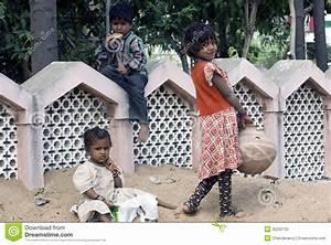 Three Poor Slum Children Playing On Sand Editorial Image ...
