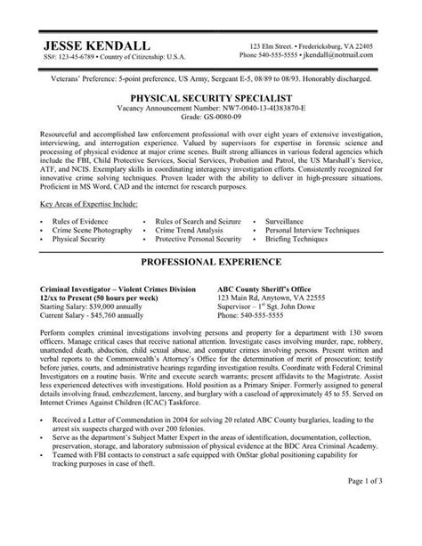 Search Resumes For Free by Security Resume Federal Resume Exle Free Federal