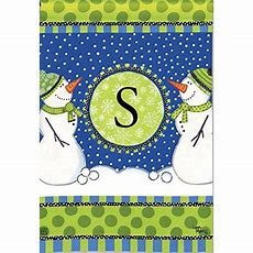 "Breeze Art Winter Frolic Monogram ""s"" Garden Flag #31269s"