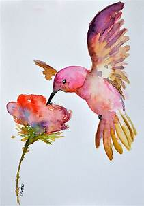 ORIGINAL Watercolor Bird Painting Flying by ArtCornerShop ...