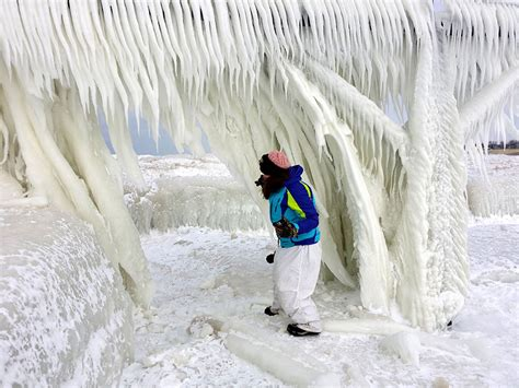 frozen lake michigan shatters  millions  pieces