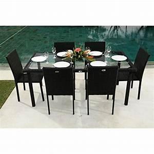 Ensemble Table Et Chaise De Jardin : ensemble table de jardin 180 cm et 6 chaises r sine ~ Dailycaller-alerts.com Idées de Décoration