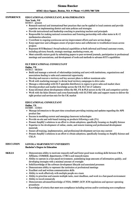 resume sample  educational consultant education