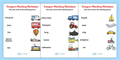 transport word and picture matching worksheet transport