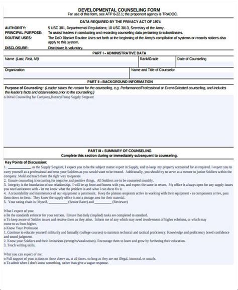 Initial Counseling Template by 8 Army Counseling Form Free Premium Templates
